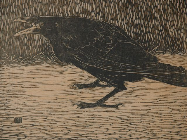 Jan Mankes | Screaming crow, woodcut on paper, 18.3 x 23.8 cm, signed with monogram in the block and executed in 1918