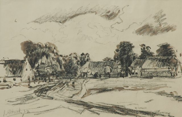 Jan Altink | Farms in a landscape, black chalk and washed ink on paper, 31.8 x 48.7 cm, signed l.l. and dated '32