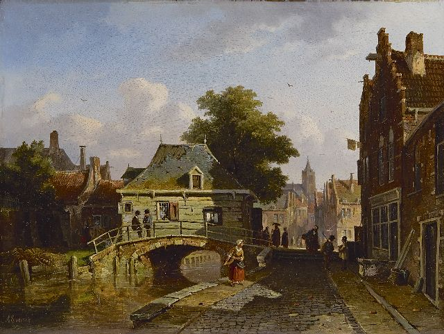 Adrianus Eversen | A view of a Dutch town, oil on panel, 25.2 x 33.5 cm, signed l.l. and dated '56
