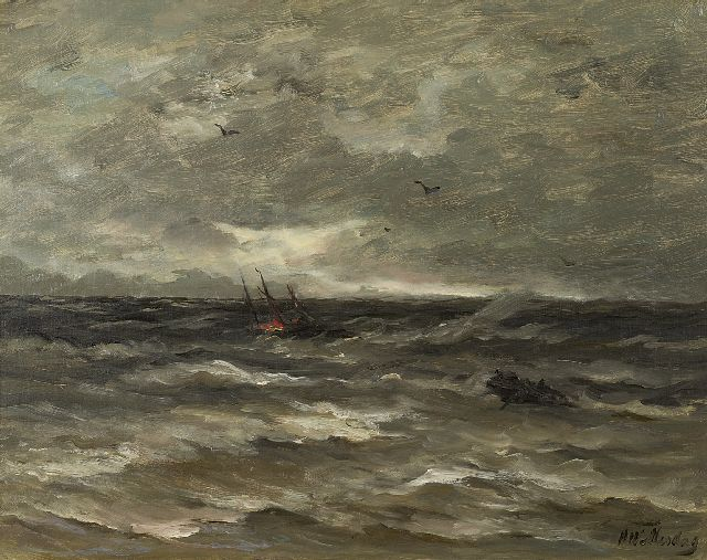 Hendrik Willem Mesdag | A ship burning at sea, oil on canvas, 40.0 x 50.0 cm, signed l.r.
