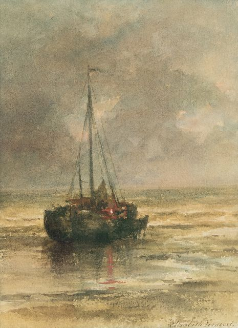 Verwoert M.E.  | Moored fishing boat near the beach, watercolour on paper 29.8 x 22.2 cm, signed l.r.