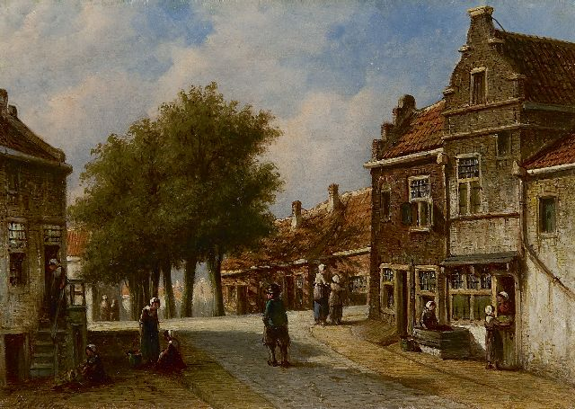Petrus Gerardus Vertin | A view of Enkhuizen near the corner Dijk/Sint Janstraat, oil on panel, 17.5 x 24.5 cm, signed l.l.