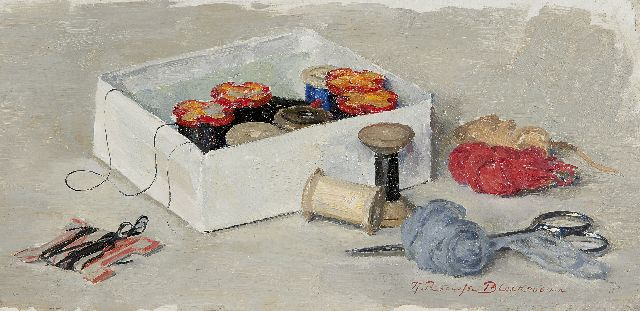 Tjieke Roelofs-Bleckmann | Stil life with sewing kit, oil on panel, 17.0 x 34.5 cm, signed l.r.
