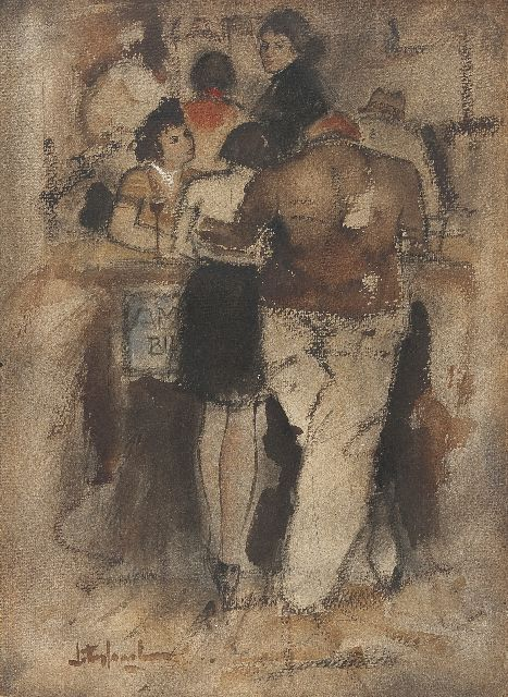 Rijlaarsdam J.  | At the bar, chalk and watercolour on paper 36.8 x 27.0 cm, signed l.l.