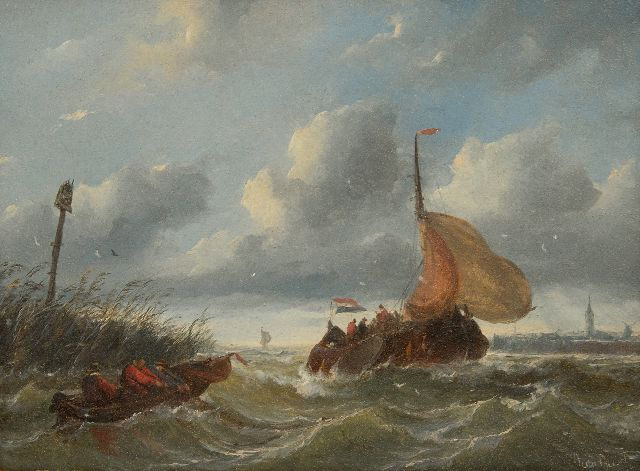 Beest A. van | A boyer entering a harbour in stormy weather, oil on panel 23.5 x 33.6 cm, signed l.r.