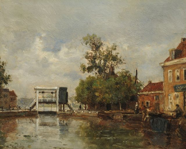 Roelofs W.  | Moored vessels in Leidschendam, oil on panel 15.3 x 18.6 cm, signed l.l.