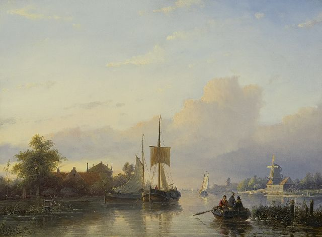 Jan Jacob Spohler | A river landscape with sailing vessels and a rowing boat, oil on panel, 32.5 x 43.7 cm, signed l.l.