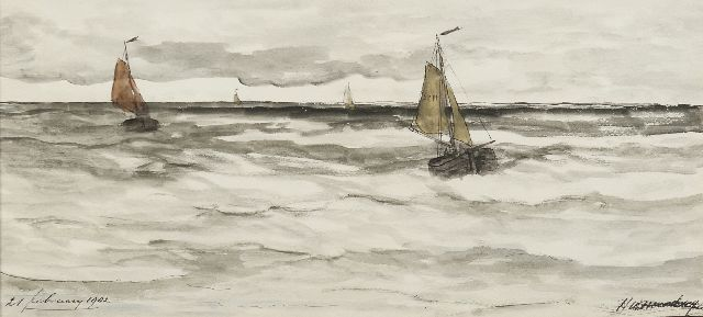 Hendrik Willem Mesdag | Ships returning from sea, pen and ink and watercolour on paper, 20.6 x 43.2 cm, signed l.r. and dated 21 februarij 1902