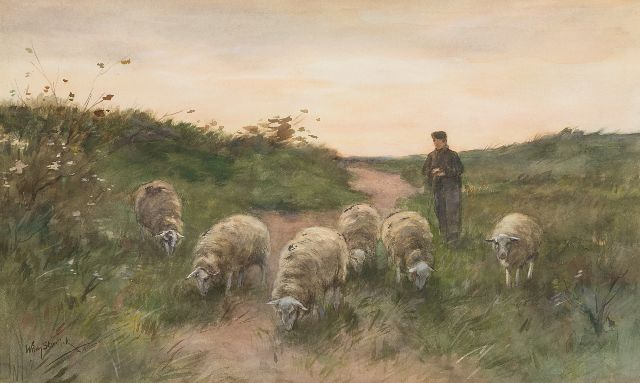 Willem Steelink jr. | Shepherd with his flock, watercolour on paper, 36.8 x 60.9 cm, signed l.l.