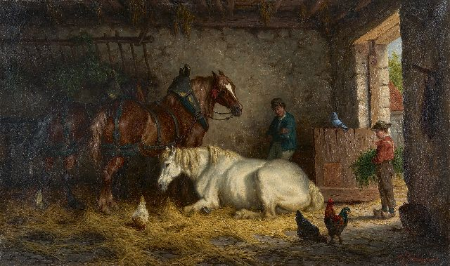 Willem Johan Boogaard | A stable interior with three horses, oil on canvas, 45.6 x 76.8 cm, signed l.r.