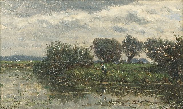 Roelofs W.  | Willows at the waterfront, Loosdrecht, oil on canvas, 26.5 x 44.0 cm, signed l.r.