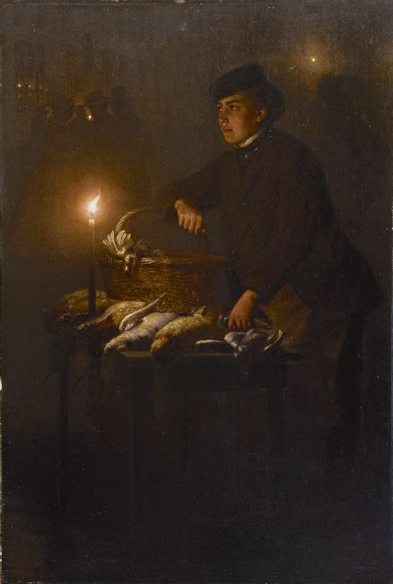 Petrus van Schendel | Selling game at the Groenmarkt in The Hague, by night, oil on panel, 45.0 x 30.3 cm, signed l.r. and executed ca. 1868