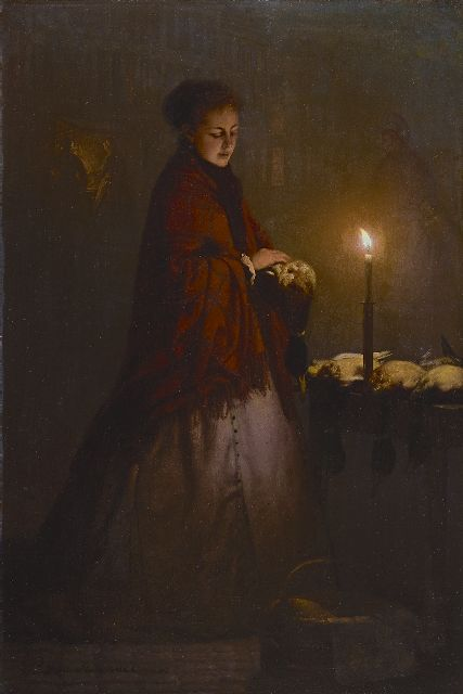 Petrus van Schendel | Buying game on the Groenmarkt in The Hague, by night, oil on panel, 45.0 x 30.3 cm, signed l.l. and dated 1868