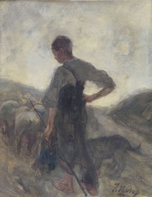 Toorop J.Th.  | Shepherd and his flock, watercolour on paper, 40.4 x 31.1 cm, signed l.r. and painted ca. 1884