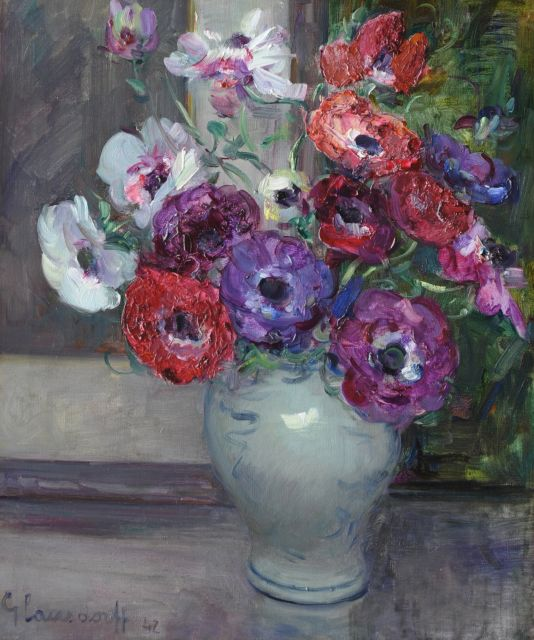 Hubert Glansdorff | Anemones, oil on canvas, 46.0 x 38.0 cm, signed l.l.