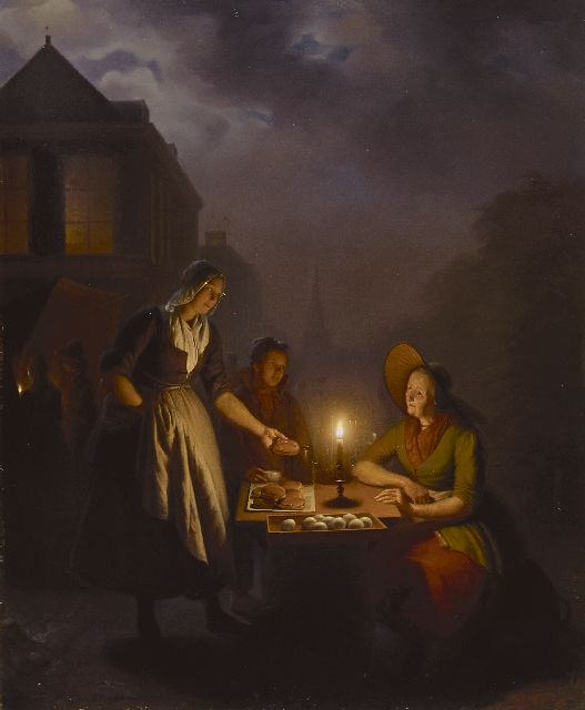 Petrus van Schendel | Market in the evening, oil on panel, 75.3 x 62.5 cm, signed l.l. and painted ca. 1846-1850