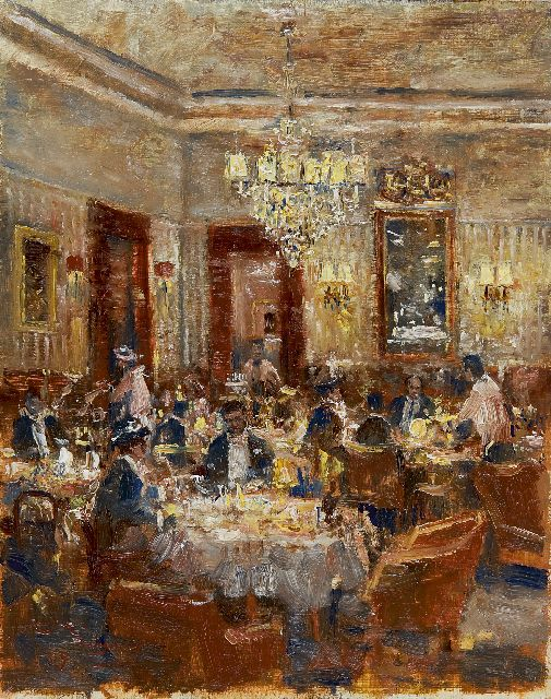 Rolf Dieter Meyer-Wiegand | A festive evening at the restaurant, oil on panel, 30.0 x 23.9 cm, signed l.l.