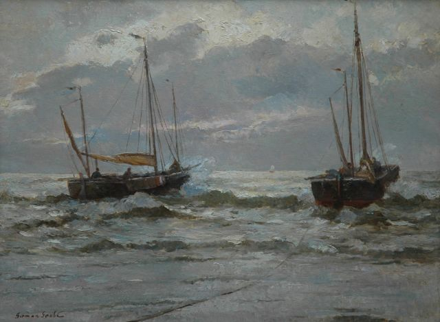 German Grobe | Fishing boats setting sail at sunset, oil on canvas, 60.0 x 80.3 cm, signed l.l.