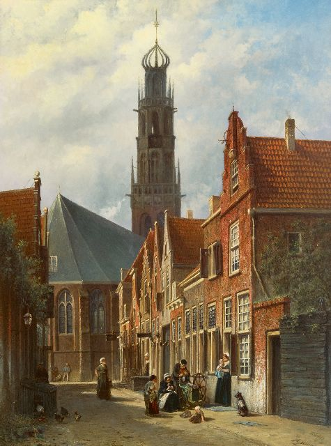 Petrus Gerardus Vertin | A view of Haarlem with the Bakenesser church, oil on panel, 85.3 x 64.9 cm, signed l.r. (both) and painted 1877-1878