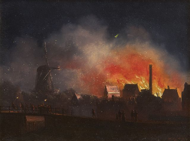 Cate H.G. ten | Fire at night, oil on panel, 21.0 x 27.7 cm, signed l.r. and dated 1849