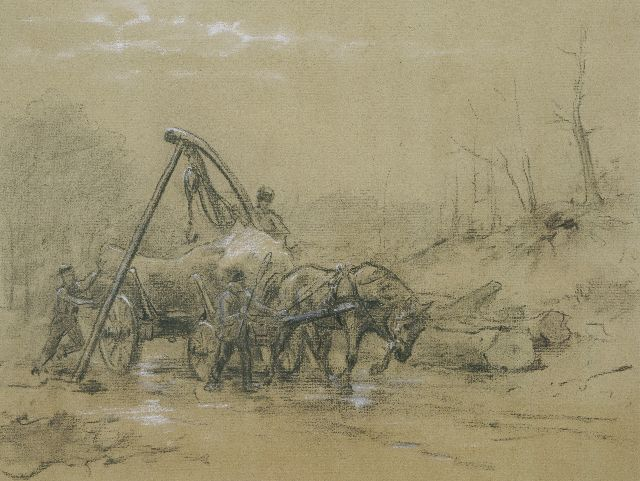 Otto Eerelman | Working with the logging wheels, chalk on paper, 45.0 x 57.1 cm