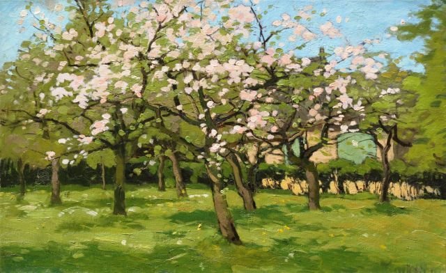 Derk Wiggers | An orchard in spring, oil on canvas, 38.8 x 61.6 cm