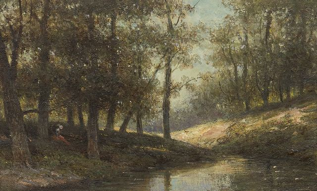 Wisselingh J.P. van | By the forest stream, oil on panel 14.5 x 23.4 cm