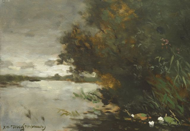 Weissenbruch H.J.  | Peat polder, oil on paper laid down on panel 27.6 x 40.2 cm, signed l.l.