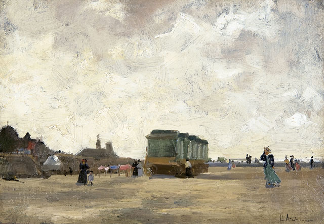 Floris Arntzenius | A windy day on the beach of Scheveningen, oil on canvas laid down on panel, 23.1 x 33.5 cm, signed l.r.