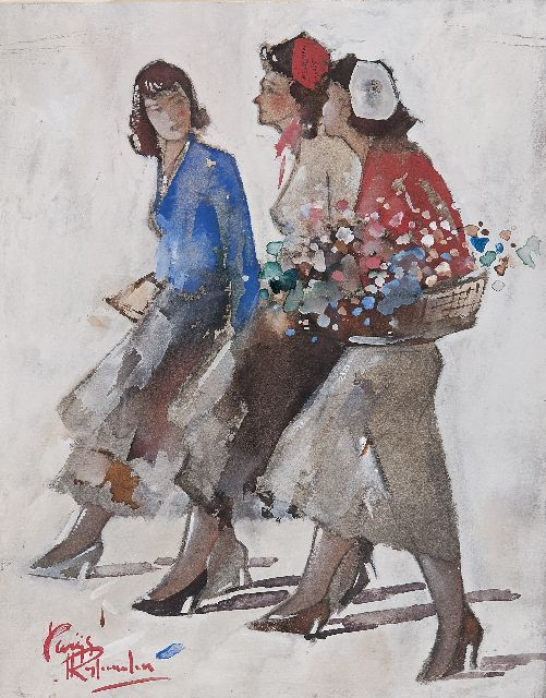 Jan Rijlaarsdam | Three young women, Paris, gouache on paper, 34.1 x 26.9 cm, signed l.l.