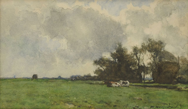 Jan Hendrik Weissenbruch | Cows resting in a meadow near a haystack, watercolour and gouache on paper, 22.3 x 36.8 cm, signed l.r.