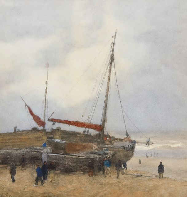 Tholen W.B.  | Fishing boats on the beach at Scheveningen, watercolour and gouache on paper 55.0 x 52.0 cm, signed l.l.