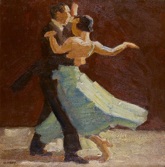 Kees Maks | A dancing couple, oil on canvas, 62.6 x 62.5 cm, signed l.l.