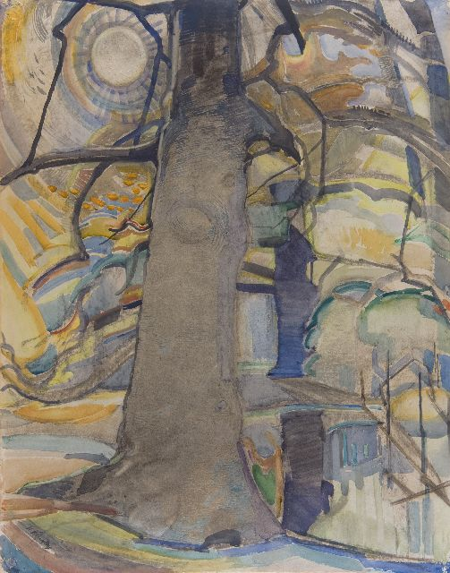 Herman Kruyder | The beech tree, chalk and watercolour on paper, 63.1 x 49.5 cm, signed l.l. and executed ca. 1917-1918