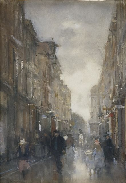 Floris Arntzenius | The Spuistraat, The Hague, chalk, watercolour and gouache on paper, 40.6 x 28.6 cm, signed l.l.