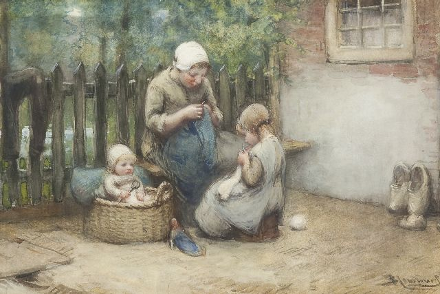 Bernard Blommers | The knitting lesson, chalk, watercolour and gouache on paper, 34.2 x 51.9 cm, signed l.r.