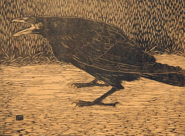 Jan Mankes | Screaming crow, woodcut on Japanese paper on cardboard, 18.4 x 24.3 cm, signed with monogram in the block and executed in 1918