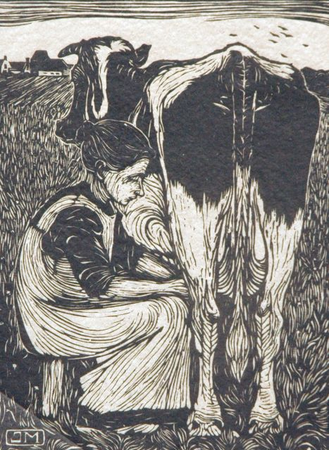 Jan Mankes | Milking the cow, woodcut on Japanese paper, 19.2 x 14.2 cm, signed l.r. in full (in pencil) and with monogram i/t blo and executed in 1914