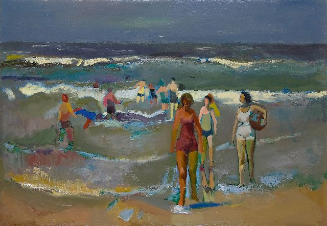 Harrie Kuijten | Figures on a beach, oil on canvas, 44.4 x 64.8 cm, signed l.l.