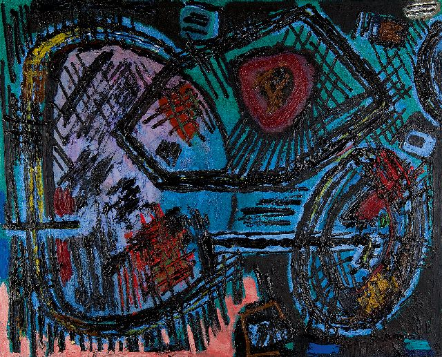 Willem Hussem | Composition 1959, oil on canvas, 80.4 x 100.2 cm, signed on the reverse and dated '59 on the reverse