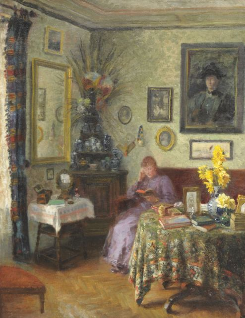 Hollandse School, begin 20e eeuw   | Interior with woman reading, oil on canvas 85.4 x 66.4 cm