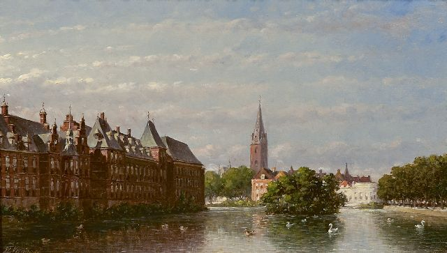 Petrus Gerardus Vertin | The Hofvijver and the Binnenhof, The Hague, oil on panel, 18.4 x 31.9 cm, signed l.l. and dated '86
