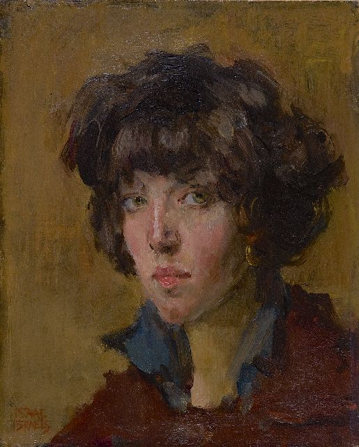 Israels I.L.  | Young lady with a fringe, oil on panel, 27.1 x 21.7 cm, signed l.l.