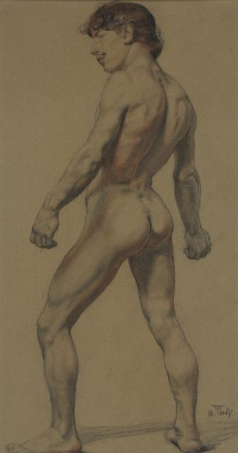 Thedy M.E.G.  | An academy study, charcoal and chalk on paper 32.8 x 17.5 cm, signed l.r.