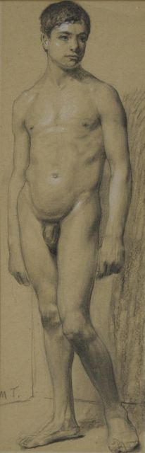 Thedy M.E.G.  | An academy study, charcoal and chalk on paper 33.6 x 11.1 cm, signed l.l. with initials