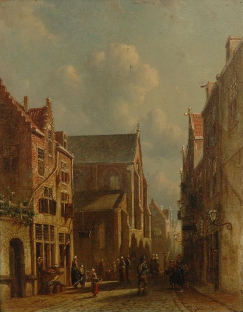 Petrus Gerardus Vertin | A townscene with figures near a church, oil on panel, 34.4 x 26.6 cm, signed l.r. and dated '68