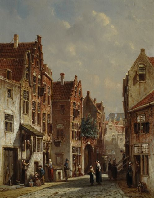 Petrus Gerardus Vertin | A Dutch town scene with figures, oil on panel, 34.1 x 26.4 cm, signed l.r. and dated '68