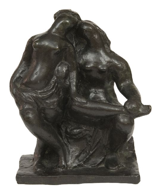 Pallandt Ch.D. van | Two friends, bronze 21.9 x 18.6 cm, signed on the side of the base and executed ca. 1941