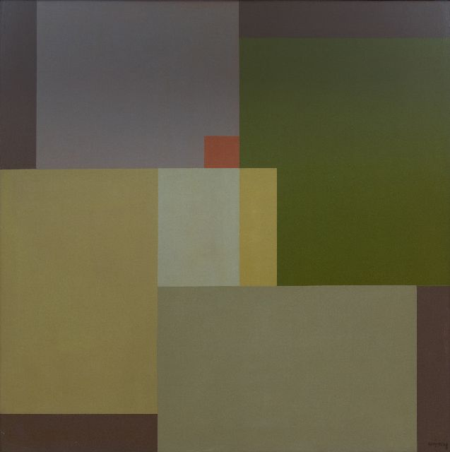 Karel Wiggers | Composition II, oil on panel, 79.0 x 79.0 cm, signed l.r. and dated on the reverse '88