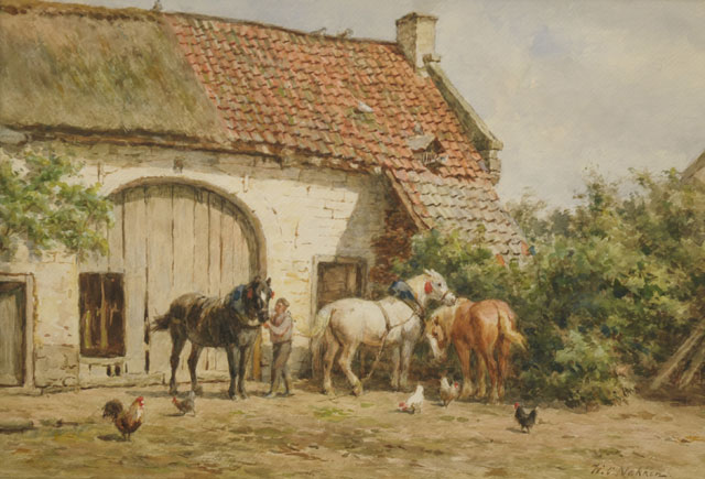 Willem Carel Nakken | Harnessing up the horses, chalk and watercolour on paper, 37.5 x 54.5 cm, signed l.r.